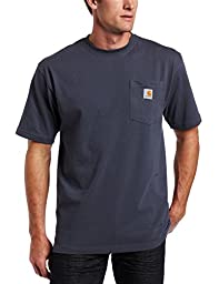 Carhartt Men\'s Workwear Pocket Short Sleeve T-Shirt Original Fit K87,Bluestone,X-Large