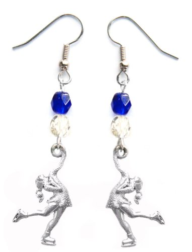 """""""Skater Girl"""" Figure Skating Earrings (Team Colors Royal Blue & Silver)"""