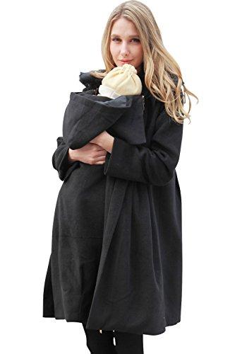 スウィートマミー (Sweet Mommy) ラビットファー 襟付き ママコート マルチ防寒カバー ダッカー付き M ブラック
