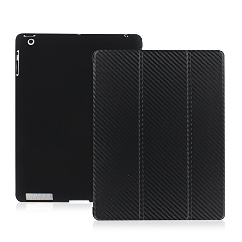 KHOMO - DUAL Case - Super Slim Carbon Fiber Cover with Rubberized back and Smart Feature (Built-in magnet for sleep / wake feature) For Apple iPad 2 iPad 3 & iPad 4 (Ipad Mini 3 Carbon Fiber Case compare prices)
