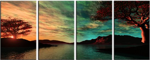 Symbiosis Beautiful Scenic 4 panel modern art on canvas