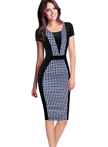 VfEmage Womens Elegant Colorblock Contrast Work Business Casual Pencil Dress 2321