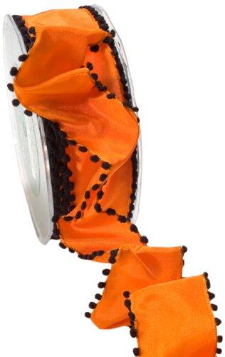 May Arts 1-1/2-Inch Wide Ribbon, Orange with Pom Pom Edge
