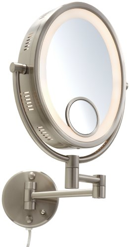 jerdon hl9515n 8 inch lighted wall mount oval makeup mirror with 10x. Black Bedroom Furniture Sets. Home Design Ideas