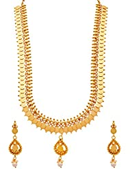 JFL - Traditional Ethnic Temple Laxmi Goddess Coin One Gram Gold Plated Designer Long Necklace Set / Jewellery...