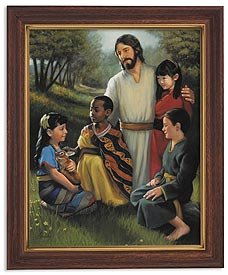 Lindsley:Christ w/t Children Series Print in Finish Frame David Lindsley