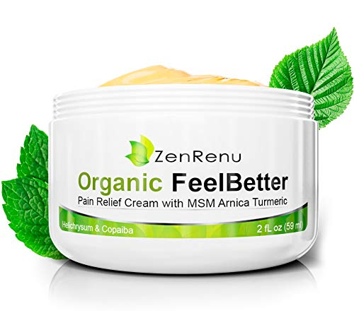 Organic Pain Relief Cream by ZenRenu | MSM Turmeric Arnica, Helichrysum, Hemp Oil | Made in USA | Muscles, Joints, Back, Neck & Skin Conditions