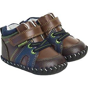 Pediped Originals Justin Crib Shoe (Infant/Toddler),Chocolate Brown,Medium (12-18 Months)