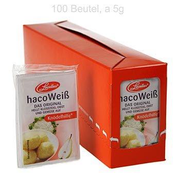 Haco Weiß, Kartoffel, Früchte & Gemüse Bleichmittel - Knödelhilfe, 500g, 100 x5g von Haco auf Gewürze Shop