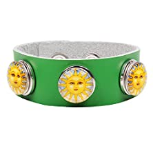 buy Modern Fantasy The Sun Goddess Smile Detachable Silver Button Creative Fashion Buckle Leather Wrap Bracelet (Green)