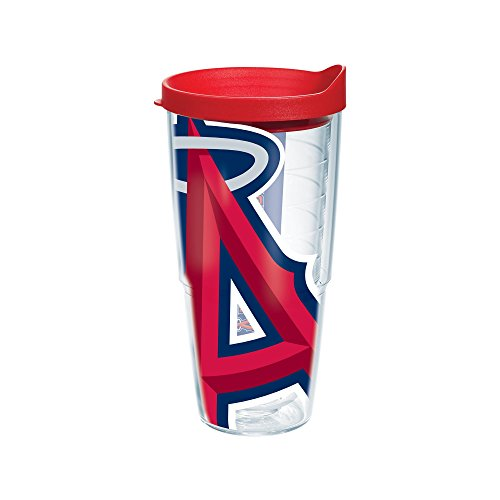 """Tervis 1091399 """"MLB La Angels Colossal"""" Tumbler with Red Lid, Wrap, 24 oz, Clear"""