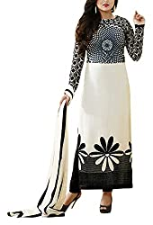Miss Ethnic Women's Georgette Unstitched Dress Material (White and Black)