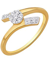 Kaizer Economica Open End Floral Leaf Gold Plated American Diamond CZ Ring For Women/Girls (Gift)