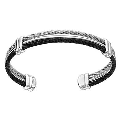 39909a8e5319fb FranceBijoux Bracelet quot Esclave quot Homme Acier amp Cable Acier Noir  7cm Neuf Bijoux
