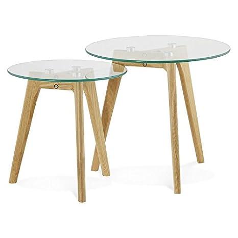 Mesas de centro diseño de anidación de arte de cristal y roble (transparente)