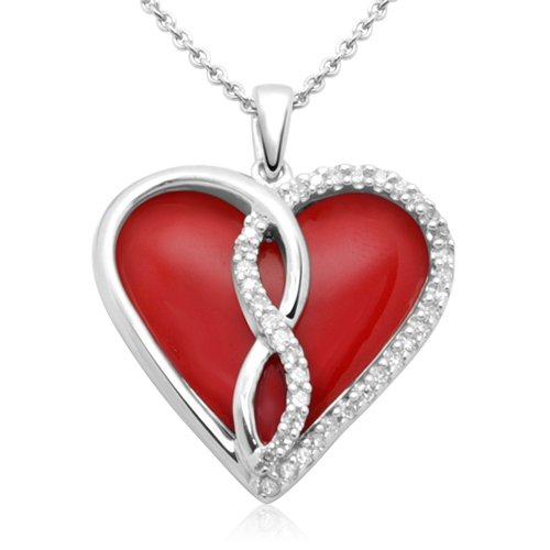Sterling Silver Enamel Twist Heart Diamond Pendant Necklace (1/10 cttw, I-J Color, I3 Clarity), 18