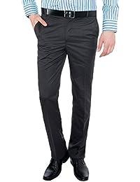 Only Vimal Men's Dark Blue Self-Striped Slim Fit Formal Trouser - B01H1Y7CSU