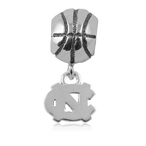 NCAA UNC Tar Heels .925 Sterling Silver Basketball Charm Bead, UNC Jewelry