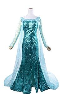 E-Mell Women Girl Movie Frozen Cosplay Snow Queen Elsa Dress Costume Suit Customize