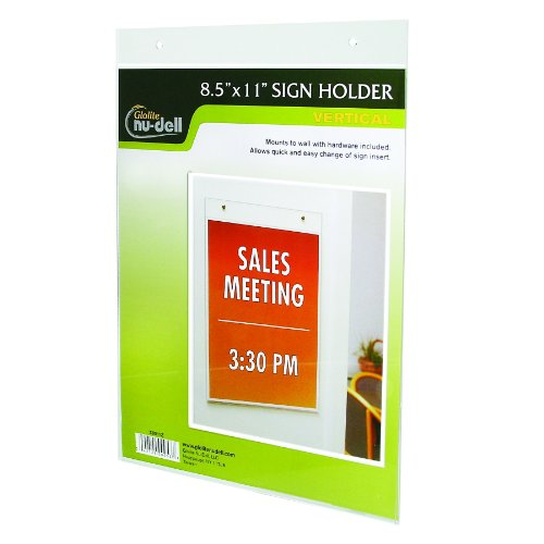 Nu-Dell 8.5 X 11 Inches Vertical Wall Mount Sign Holder, Clear front-715426
