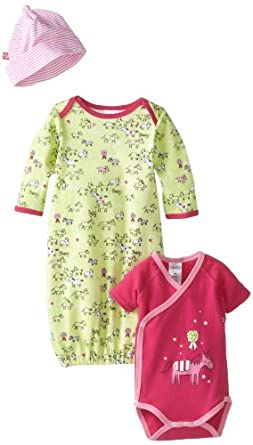 Zutano Baby-Girls My Pony Gown, Short Sleeve Wrap And Hat Set, Multi, 3 Months