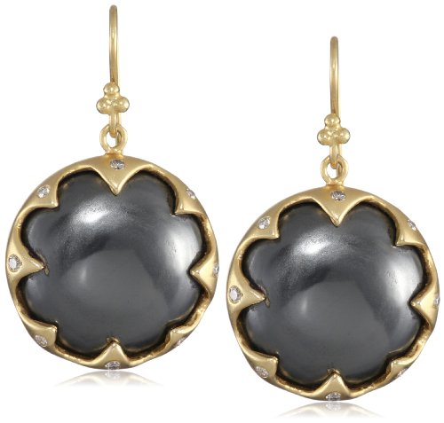 Lauren Harper Collection Midnight 18k Gold, Hematite Cabachons and Diamond Round Earrings