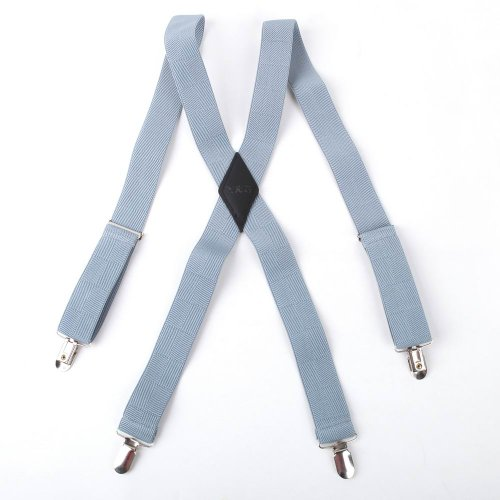 SP2013 Blue Mens Checkered Suspenders Gifts For Work X-back Leather Excellent Handmade Business Gift Idea By Y&G