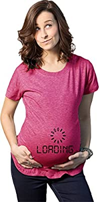 Baby Loading Maternity T Shirt Funny Geeky Computer Pregnancy Tee (Heather Pink)