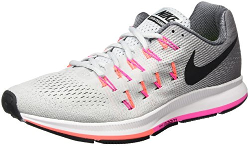 Nike - Air Zoom Pegasus 33, Scarpe Running Donna, Grigio (Pure Platinum/Black-Cool Grey-Pink Blast), 38 EU