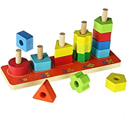ACOOLTOY Holzspielzeug Formen Stecken Stapel Puzzle Bunte Sortier Block für Kinder Early Education (multicolor)