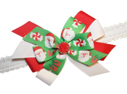 Webb Direct 2U Baby-Girls Christmas Santa Claus Hair Bow Stretch Headband (5247) front-875274