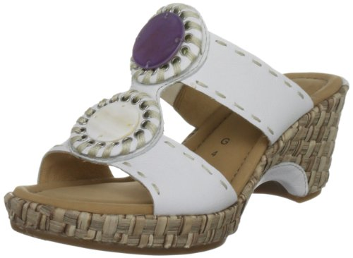 Gabor Women's Setting Leather White Kombi Slides Sandal 42.740.50 7.5 UK