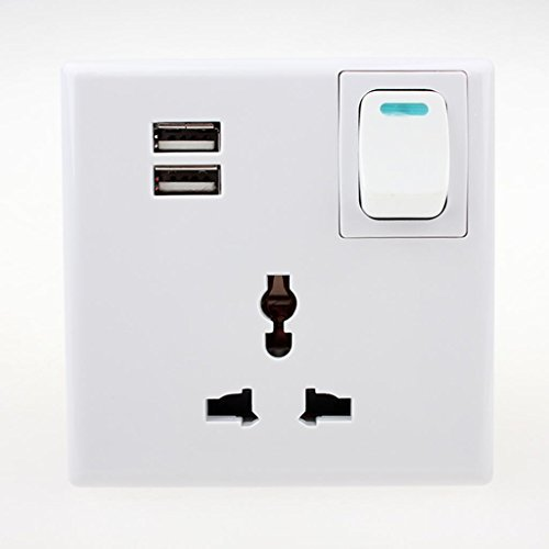Universal Home 3-Pin Wall Outlet Double Socket Plate 2 USB Port Panel Plug Switch Charger