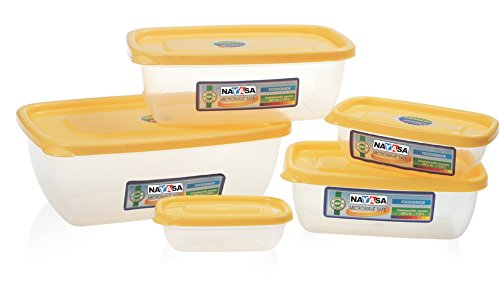 Nayasa Microwave Polypropylene Storage Container, 5-Pieces, Yellow
