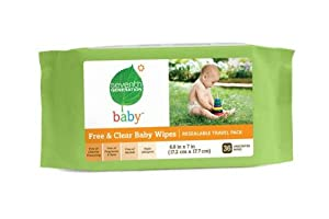 Seventh Generation Free & Clear Baby Wipes, 36 count Travel Packs (Pack of 12) (432 Wipes)