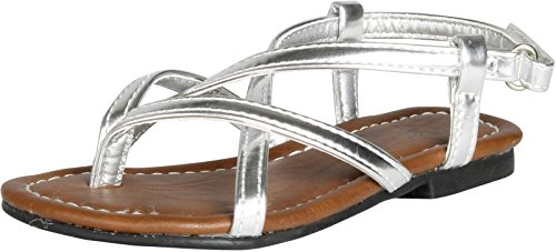 Strappy Flat Sandals,Silver