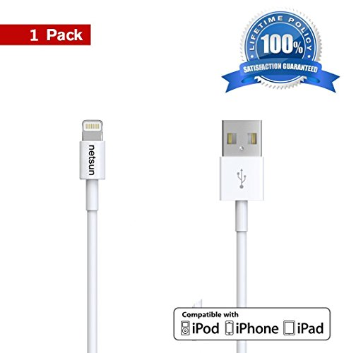 iPhone cable,NetSun(TM) 1 Pack 3Ft/1m 8 Pin Lightning to USB Sync/Charging Cable for Apple iPhone 6s / 6s Plus / 6 / 6 Plus / 5s / 5c / 5, iPod 7, iPad Mini / Mini 2/ Mini 3, iPad 4 / iPad Air / Air 2