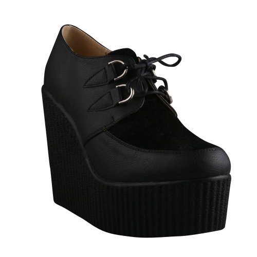 Refresh Motto-01 Women`S Platform Lace Up Ladies Wedge Oxford Creepers,Black/Black,8 at Sears.com