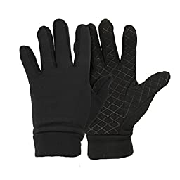 Men\'s Moisture Wicking Micro-fleece Running Sport Gloves - Color: Black  Size: Small