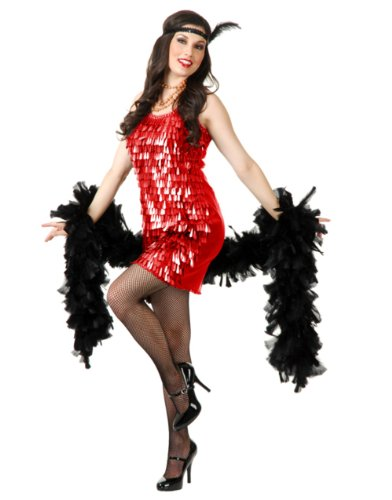 Womens Sexy Red Roaring 20s Tear Drop Sequin Flapper Costume Dress