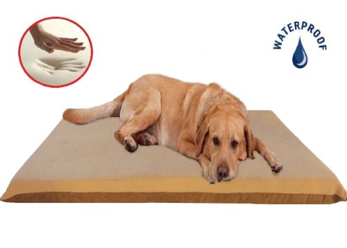 """Beige Color 47X29""""X4"""" Orthopedic Waterproof Memory Foam Pet Bed Pad For Extra Large Dog Crate Size 48""""X30"""" With 2 External Covers front-40924"""