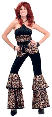 Forum Novelties Disco Dee Light '70s Dance Party Deluxe Costume Sassy Bell Bottoms Jumpsuit by Forum (Sassy Dance Costumes)