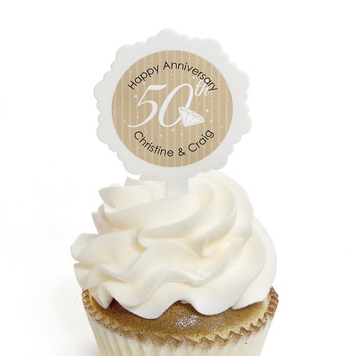 50Th Anniversary - Personalized Wedding Anniversary Cupcake Pick And Sticker Kit - 12 Ct front-783443