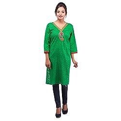 Damyantii Plus Size Casual Women's Green Kurta