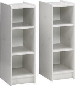 Steens Kids 2 Pine Bookshelves with Changer Shelf, Whitewash Finish