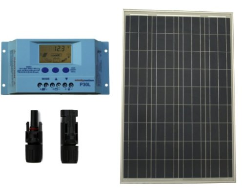 Windy Nation 12 Volt Battery Charger 100 Watt Solar Panel Eco Off-Grid Rv Boat Kit With Premium Lcd Pwm Solar Charge Controller + Mc4 Connectors