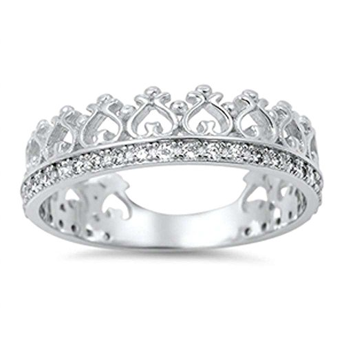 Cubic Zirconia Crown Eternity Band .925 Sterling Silver Ring Size 6
