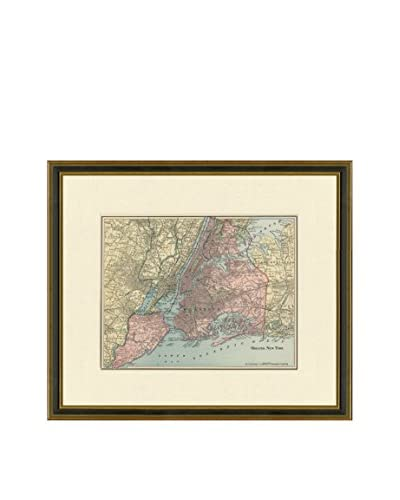 Vintage Print Gallery Antique Map Of NYC Boroughs 1883-1903, Multi, 17.5 x 20.5