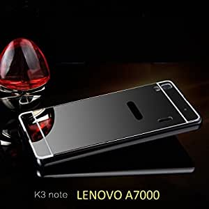 Go Crazzy Luxury Metal Bumper Acrylic Mirror Back Cover Case for lenovo a7000 -(Black) With OTG Cable