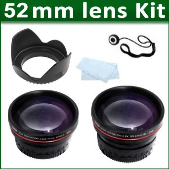 52Mm 2X Telephoto Hd Zoom Lens + 0.43X Wide Angle Lens + Lens Hood + More For Nikon D3200, D5200, D7100, D800, D3100, D5100, D7000, D90, D70 Cameras And Lenses That Use Nikon Lenses (18-55Mm, 55-200Mm, 50Mm)
